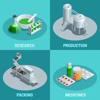 Composições isométricas de etapas de produção farmacêutica como pesquisa embalagem de produção e produto final medicamentos ilustração vetorial