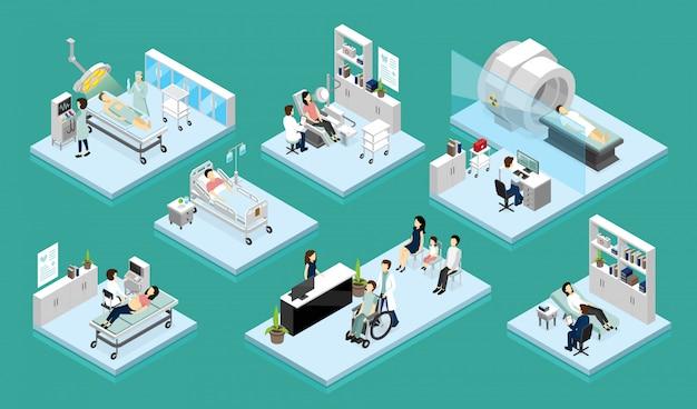 Composições isométricas de médico e paciente
