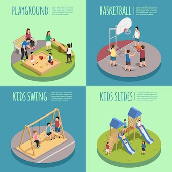 Composições isométricas de parque infantil, incluindo crianças na caixa de areia, jogo de basquete, balanços e slides isolados