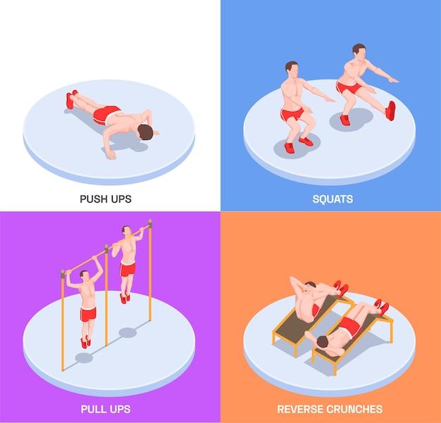 Composições isométricas de treino definidas com personagens humanos de atletas fazendo exercícios
