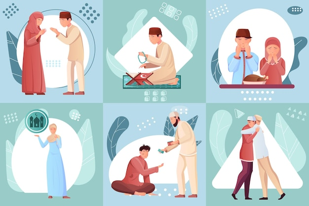 Composições planas com muçulmanos lendo ilustração do alcorão