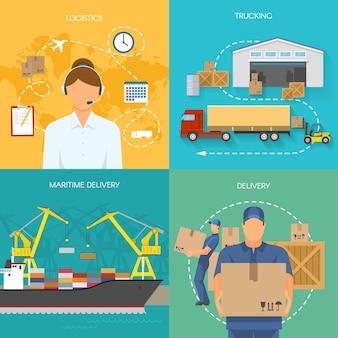 Composições planas de logística