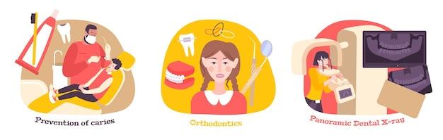 Composições planas de odontologia com ilustração de equipamentos