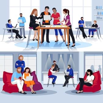 Composições planas de pessoas de coworking