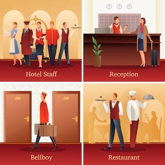 Composições planas de pessoas de hotel
