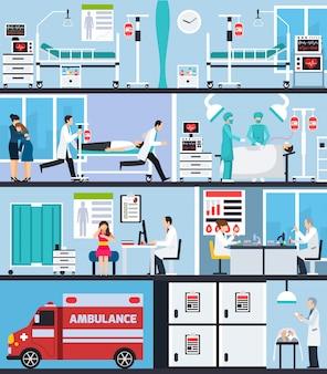 Composições planas interiores do hospital