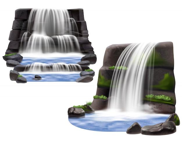 Composições realistas de cachoeiras