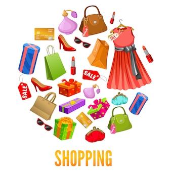 Composições redondas de compras
