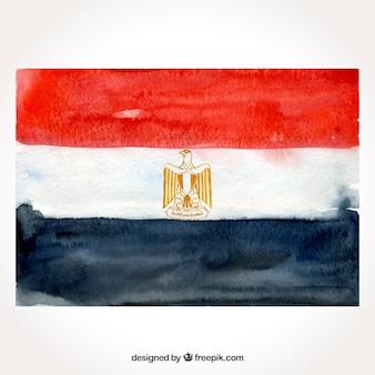 Compositio de bandeira egípcia em aquarela