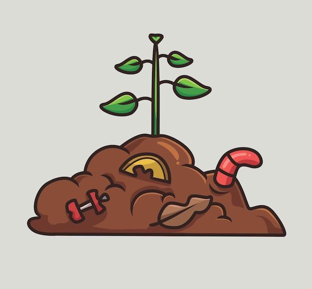 Composto de minhoca fofa jardim desenho animado conceito de natureza animal ilustração isolada estilo simples