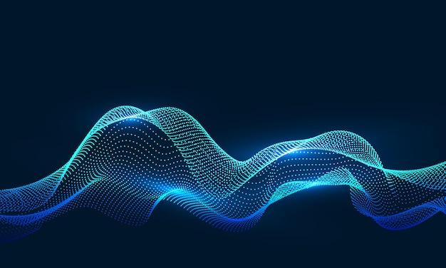 Composto por partículas girando em gráficos abstratos, fundo de senso de ciência e tecnologia.