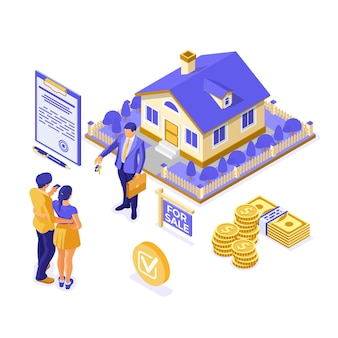 Compra, aluguel, hipoteca conceito isométrico de imóveis