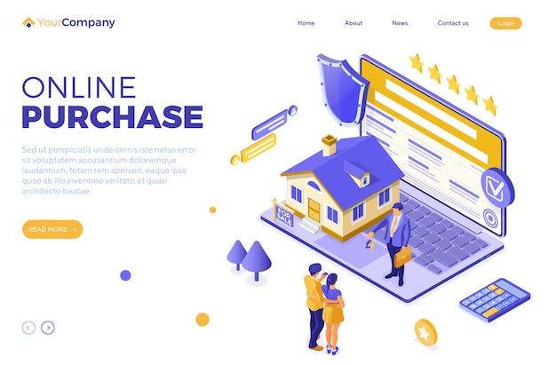 Compra, aluguel ou hipoteca online de casa com laptop, corretor de imóveis e família