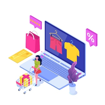 Compra de roupas online, vendas de e-commerce, marketing digital.