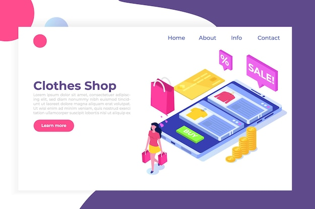 Compra de roupas online, vendas de e-commerce, marketing digital. Vetor Premium