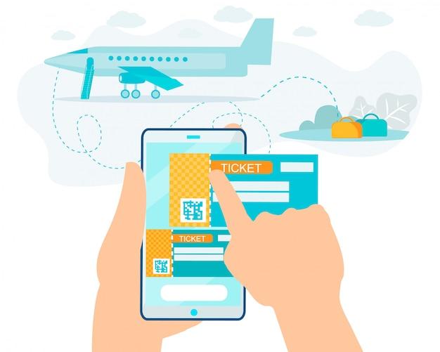 Compra de serviço on-line de bilhetes no cartoon smartphone