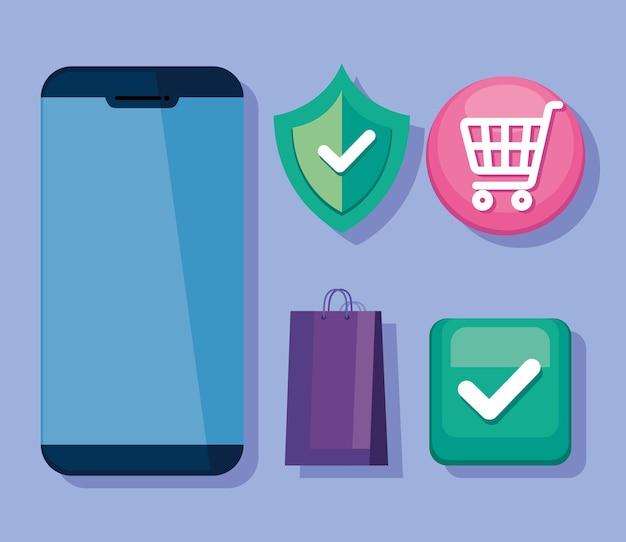 Compra de tecnologia cinco ícones