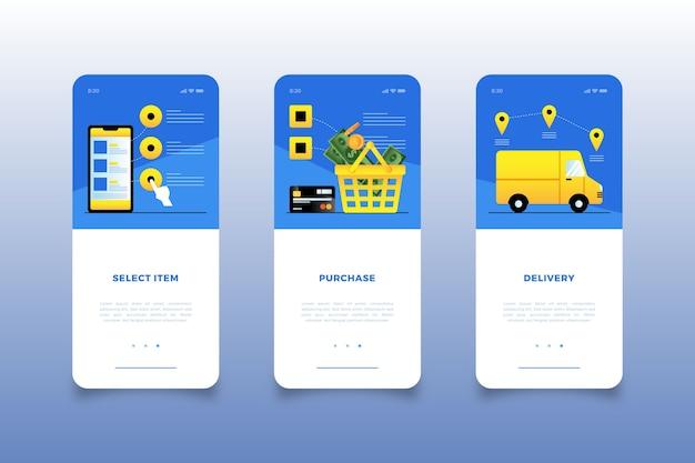 Compra de telas de aplicativos para dispositivos móveis on-line
