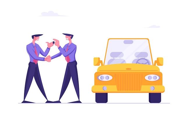 Compra de um carro de luxo novo em um salão de automóveis ou gerente do centro de distribuição de compartilhamento de carros entregando chaves
