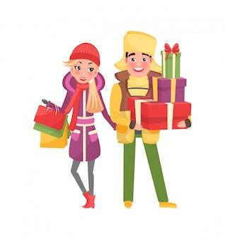 Compra do casal. homem e mulher com pacotes