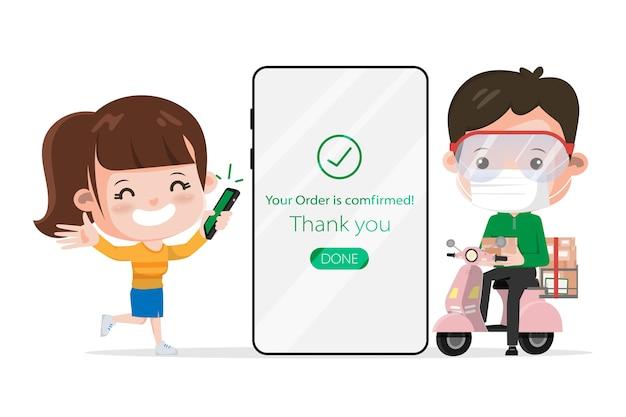 Compra do cliente online. fique em casa evitando a disseminação do coronavírus. compras online no conceito de celular.