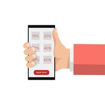 Compra em linha da venda, mão que guarda o smartphone, mensagem do disconto