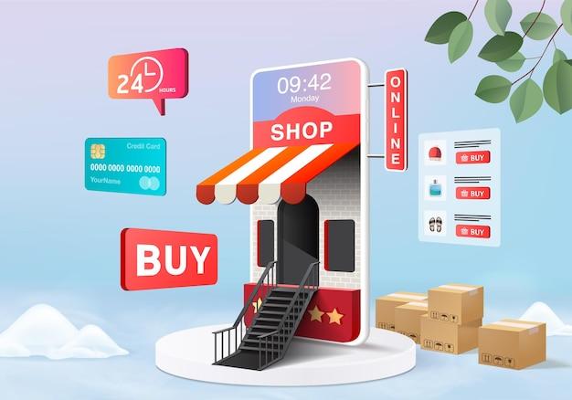 Compra loja online para venda, fundo rosa pastel de e-commerce móvel, loja online no aplicativo móvel 24 horas. carrinho de compras, cartão de crédito. renderização mínima do dispositivo da loja online