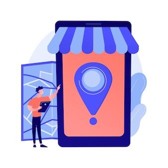 Compra móvel, e-shopping. compras modernas, varejista online, elemento de design de conveniência do consumidor. marketplace com serviço de entrega de compras.