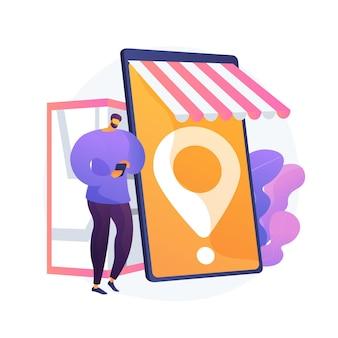 Compra móvel, eshopping. compras modernas, varejista online, elemento de design de conveniência do consumidor. marketplace com serviço de entrega de compras.