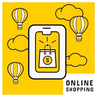 Compra on-line no celular com sacola de compras on-line