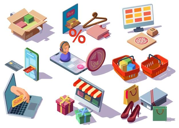 Compra online, coleção de ícones isométricos de loja de internet com mercadorias