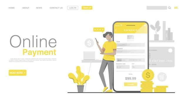 Compra online e pagamento online na página inicial do aplicativo móvel