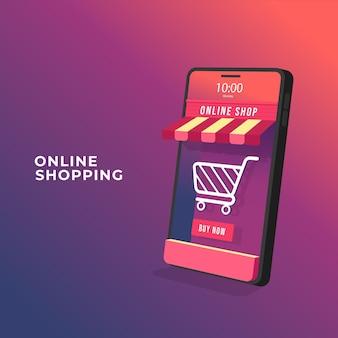 Compra online no conceito de aplicativo móvel
