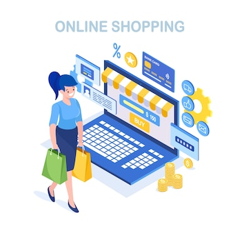 Compra online, venda. compre na loja de varejo pela internet. mulher isométrica com bolsa, computador, dinheiro