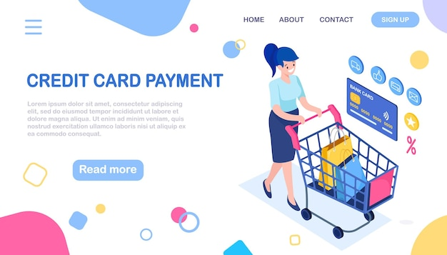 Compra online, venda. compre na loja de varejo pela internet. mulher isométrica com carrinho, carrinho, bolsa