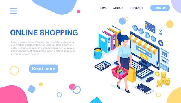 Compra online, venda. compre na loja de varejo pela internet. mulher isométrica com cesta, computador, dinheiro