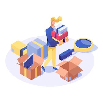 Comprador, comprando, produtos, isometric