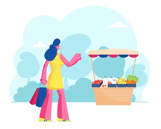 Comprador de mulher fica na mesa com legumes frescos de fazendeiro no mercado. ilustração plana dos desenhos animados