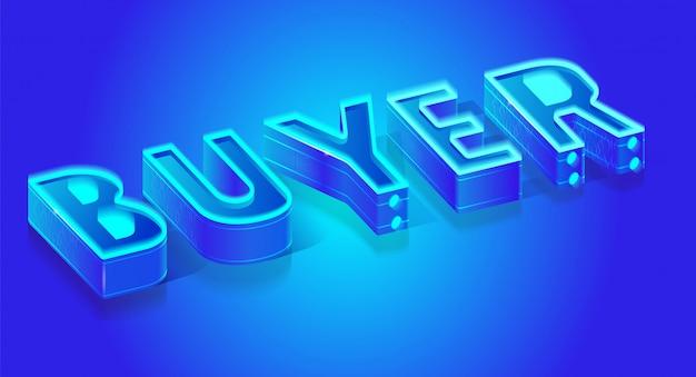 Comprador de palavra neon azul fluorescente