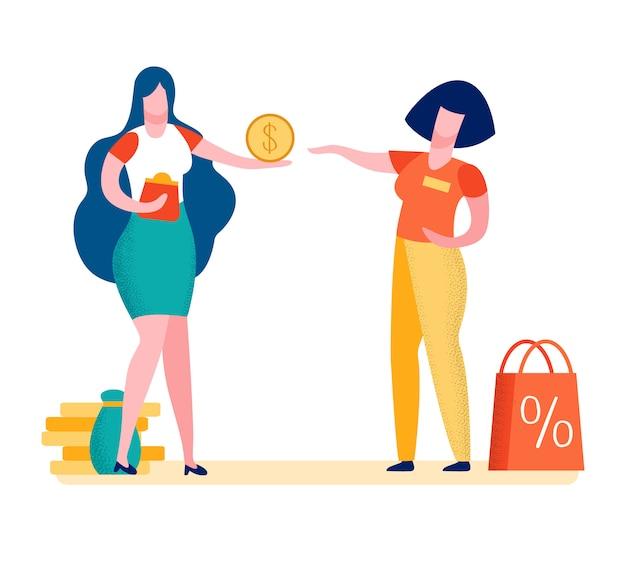 Comprador fazendo compra cartoon ilustração em vetor