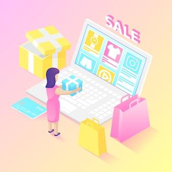 Comprador on-line isométrico