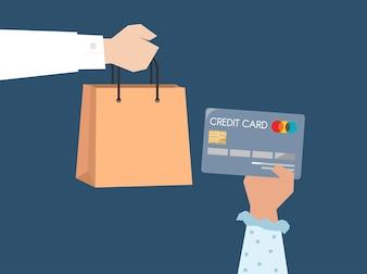Comprador pagando por ilustração de cartão de crédito