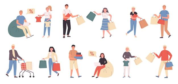 Compradores, clientes masculinos e femininos, conjunto plano