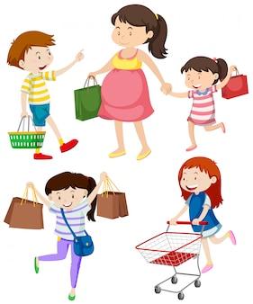 Compradores com sacolas e carrinho