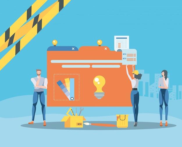 Compradores e pasta de dados com a página da web em construção