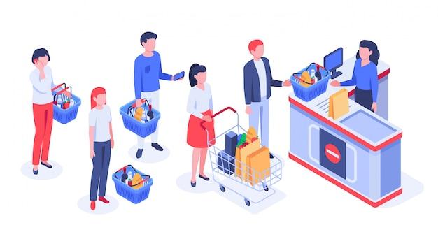 Compradores em fila de espera, compra de compradores e ilustração em vetor caixa registradora loja
