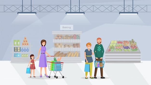 Compradores no supermercado plano