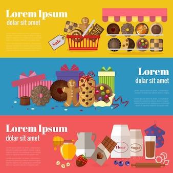 Comprando biscoitos, biscoitos para presente e assando banners de biscoitos.