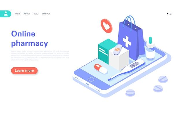 Comprando medicamentos on-line banner de conceito de farmácia on-line