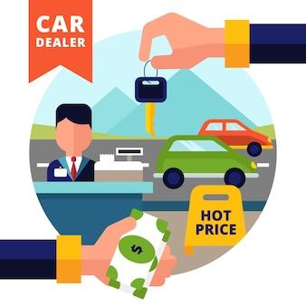 Comprando o conceito de carro definido com chave de dinheiro do negociante de carro na mão e automóveis
